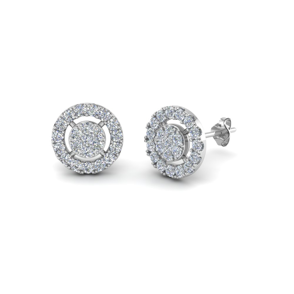 Halo Diamond Cluster Earring Gift In 14K White Gold
