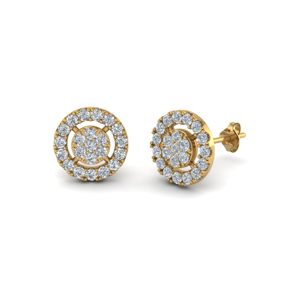 Halo Diamond Cluster Stud Earring