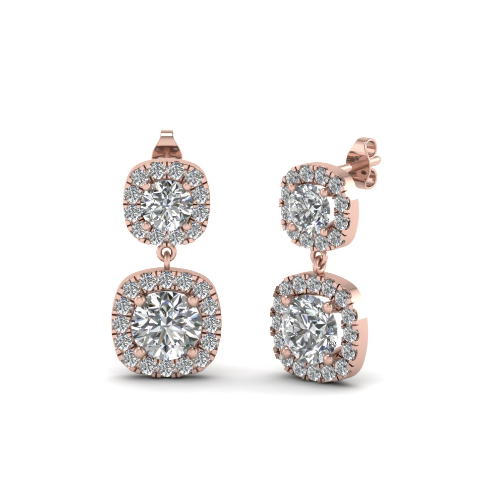 halo diamond drop earring for women in 14K rose gold FDEAR8102 NL RG