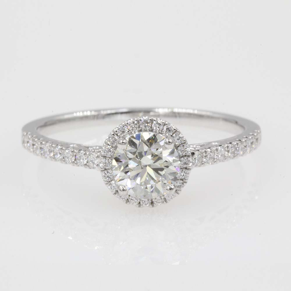 halo diamond filigree engagement ring in 14K white gold FD8592ROR