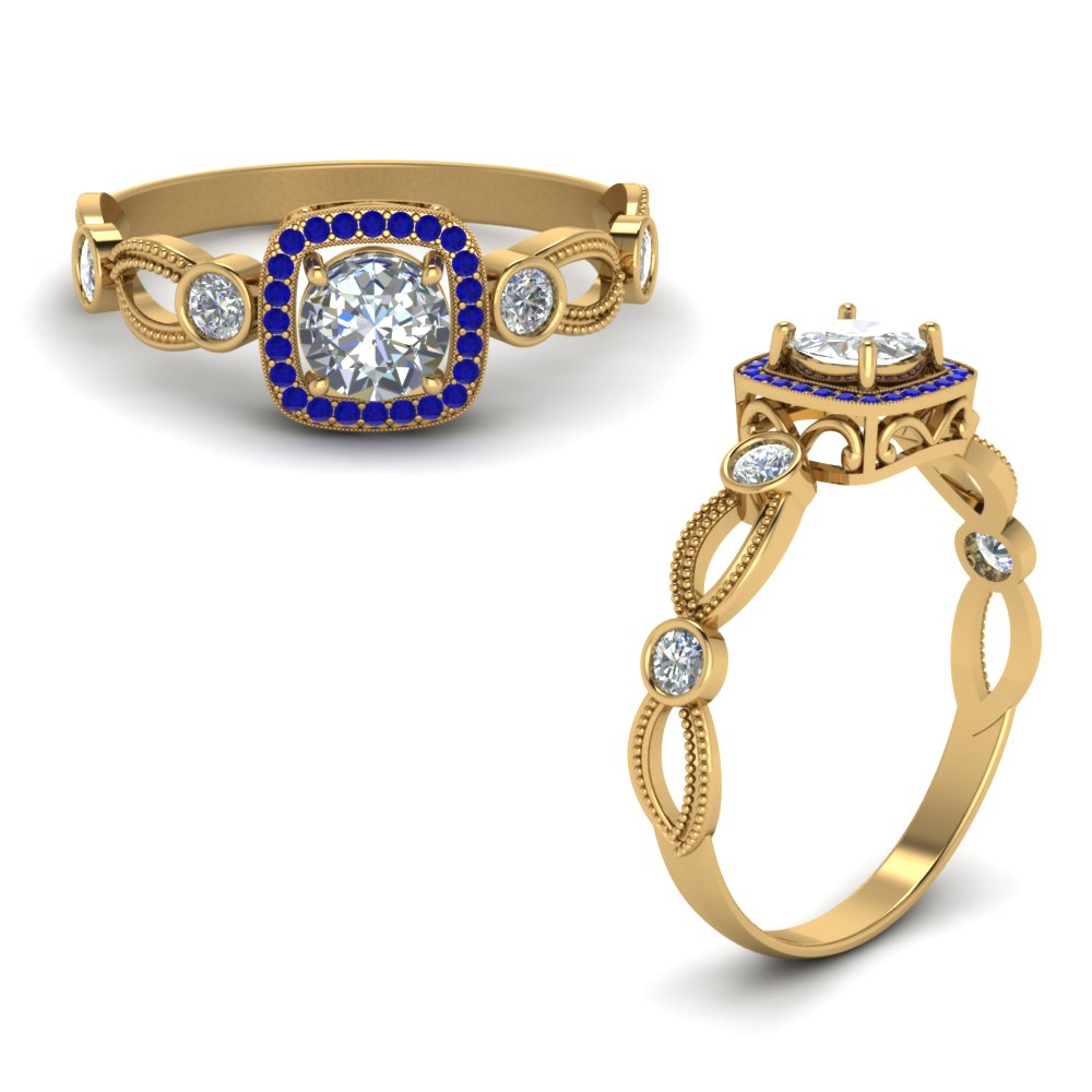 Halo Diamond Mom Ring With Sapphire In 14K Yellow Gold