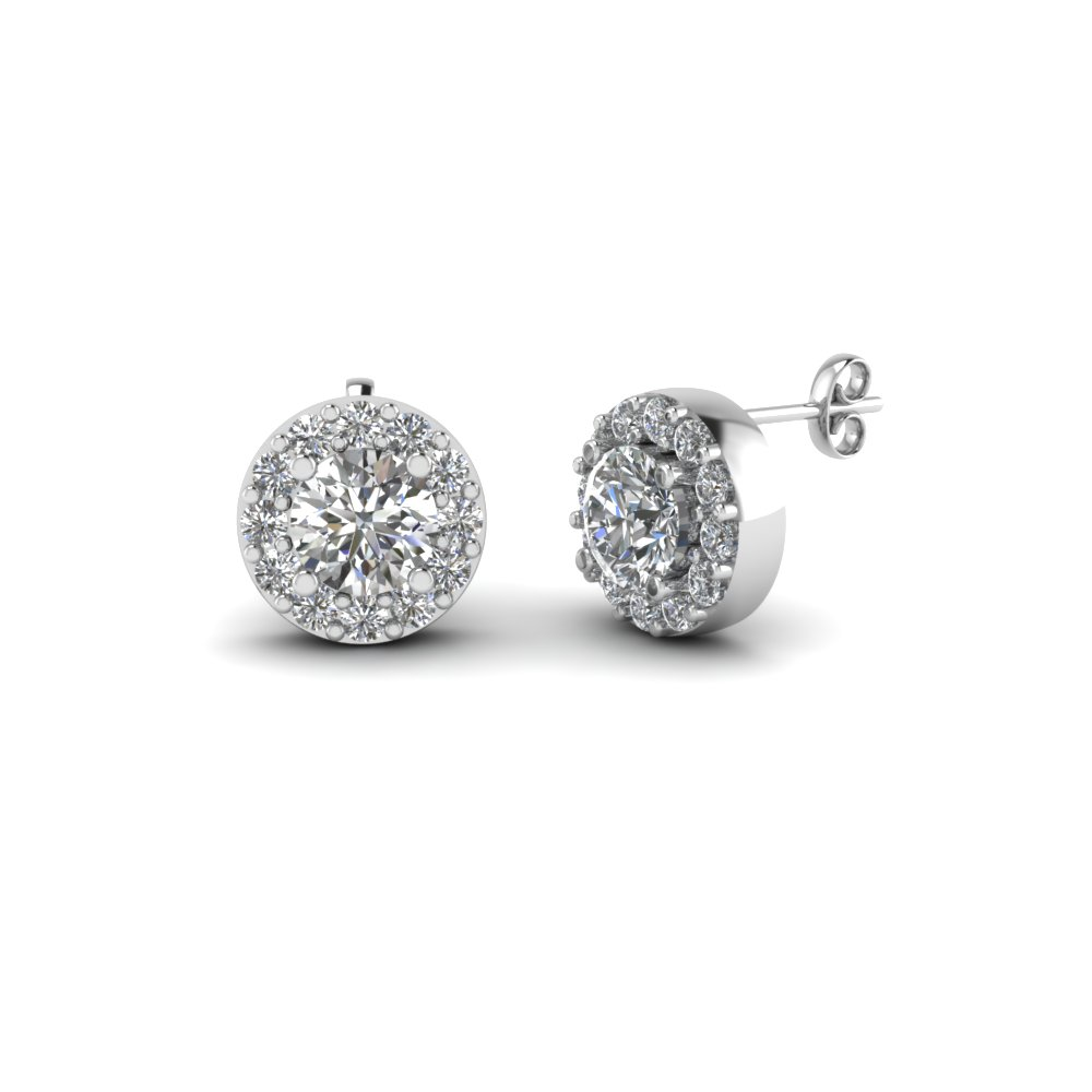 reuven halo earrings floral jewelers stud gitter diamond product