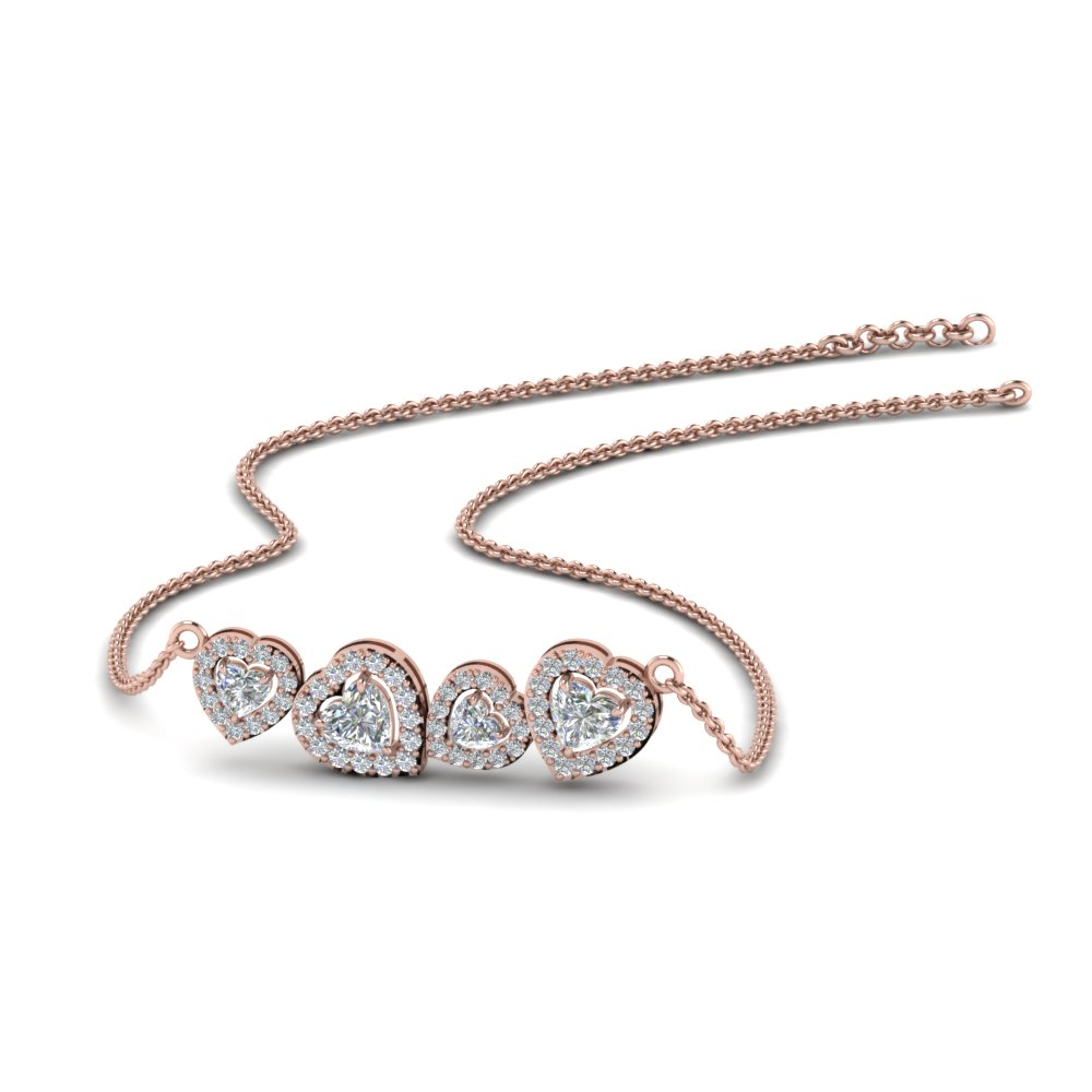 halo heart diamond necklace in 14K rose gold FDPD8853 NL RG