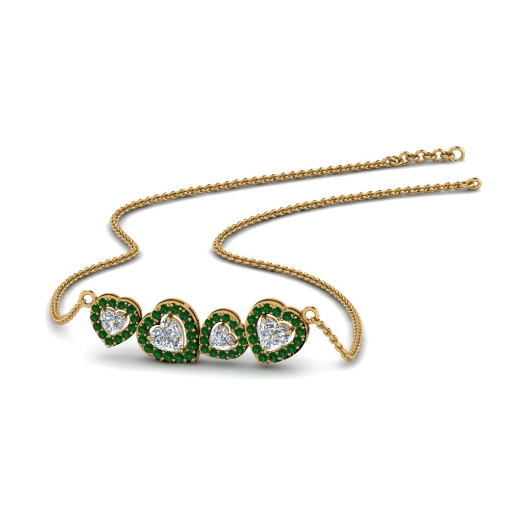 halo heart diamond necklace with emerald in 14K yellow gold FDPD8853GEMGR NL YG