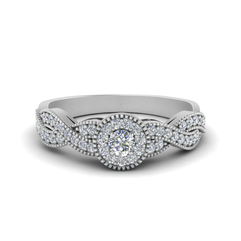 milgrain diamond infinity ring