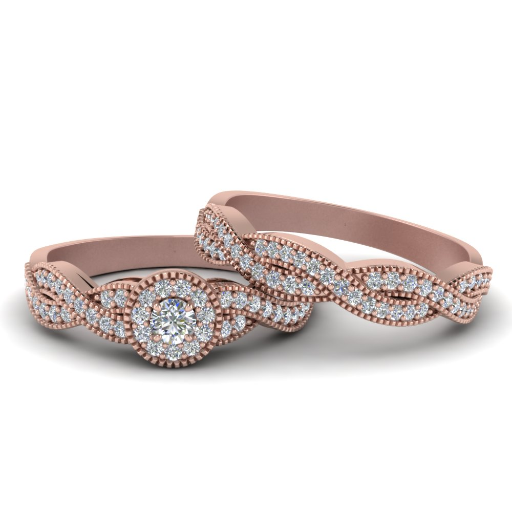 halo infinity wedding ring set in fd8522ro nl - Rose Gold Wedding Ring Sets