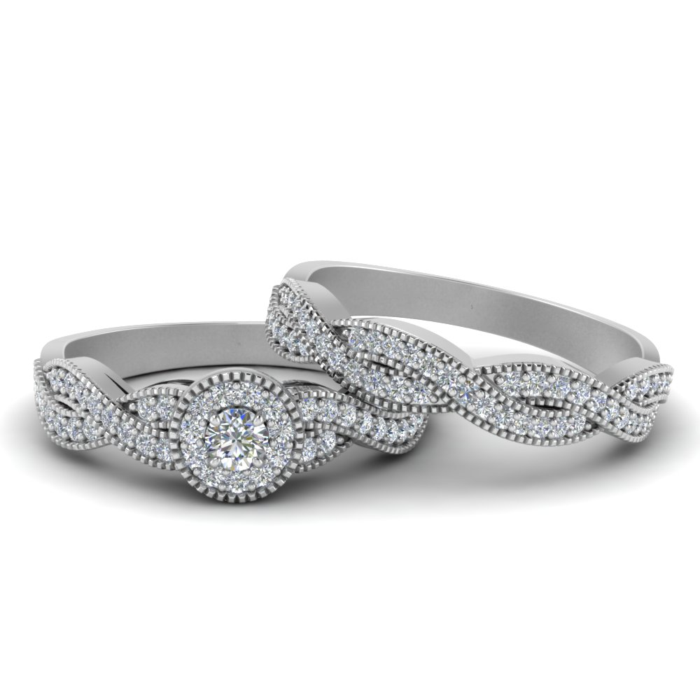 Halo Infinity Wedding Ring Set In Fd8522ro Nl