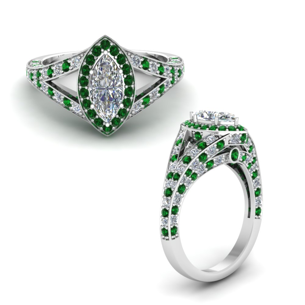 halo marquise split shank diamond engagement ring with emerald in FD68070MQRGEMGRANGLE1 NL WG.jpg
