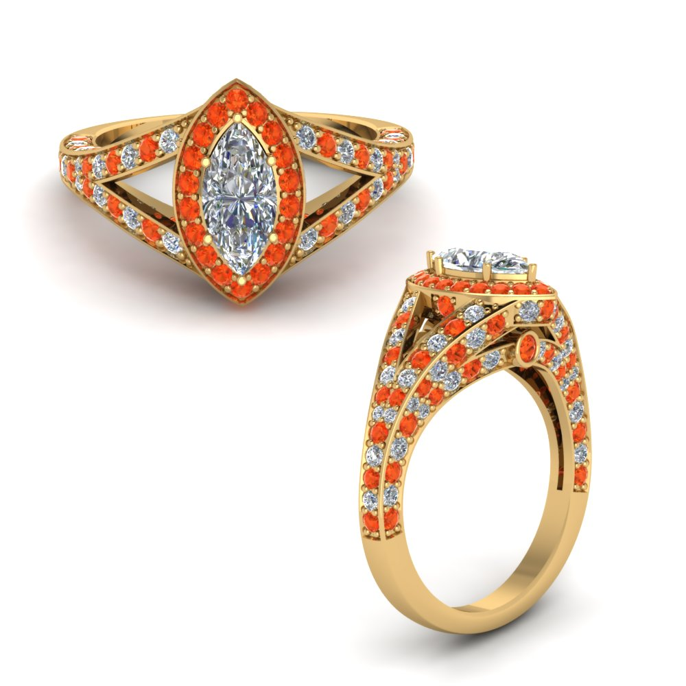 halo marquise split shank diamond engagement ring with orange topaz in FD68070MQRGPOTOANGLE1 NL YG.jpg