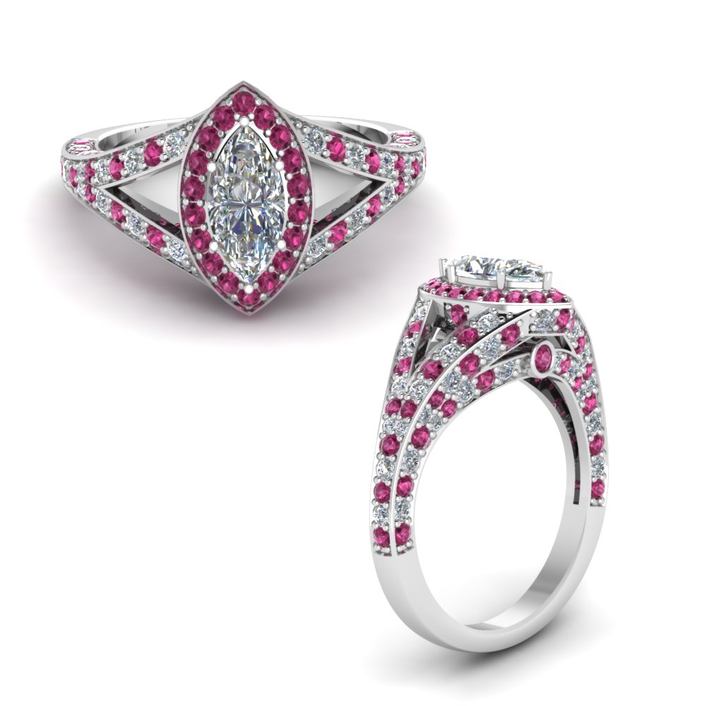 halo marquise split shank diamond engagement ring with pink sapphire in FD68070MQRGSADRPIANGLE1 NL WG.jpg
