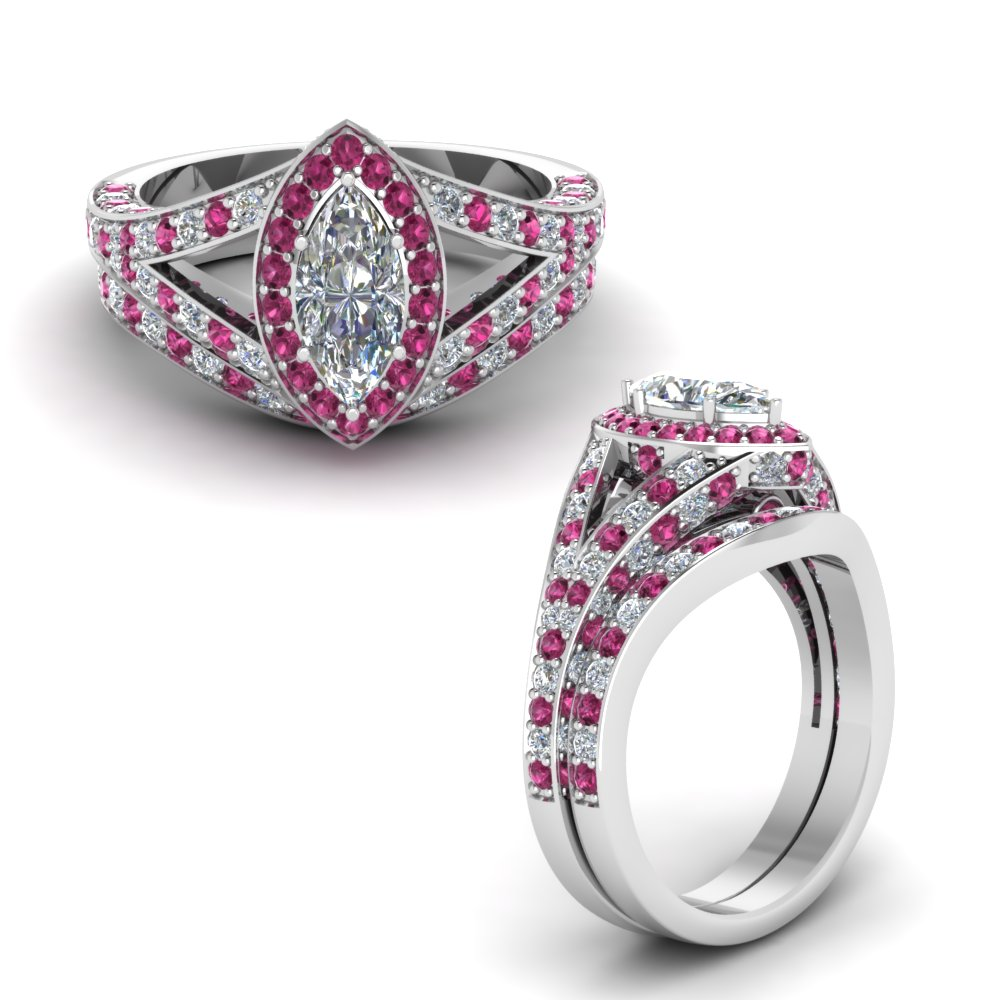 halo marquise split shank diamond wedding ring set with pink sapphire in FD68070MQGSADRPIANGLE1 NL WG.jpg