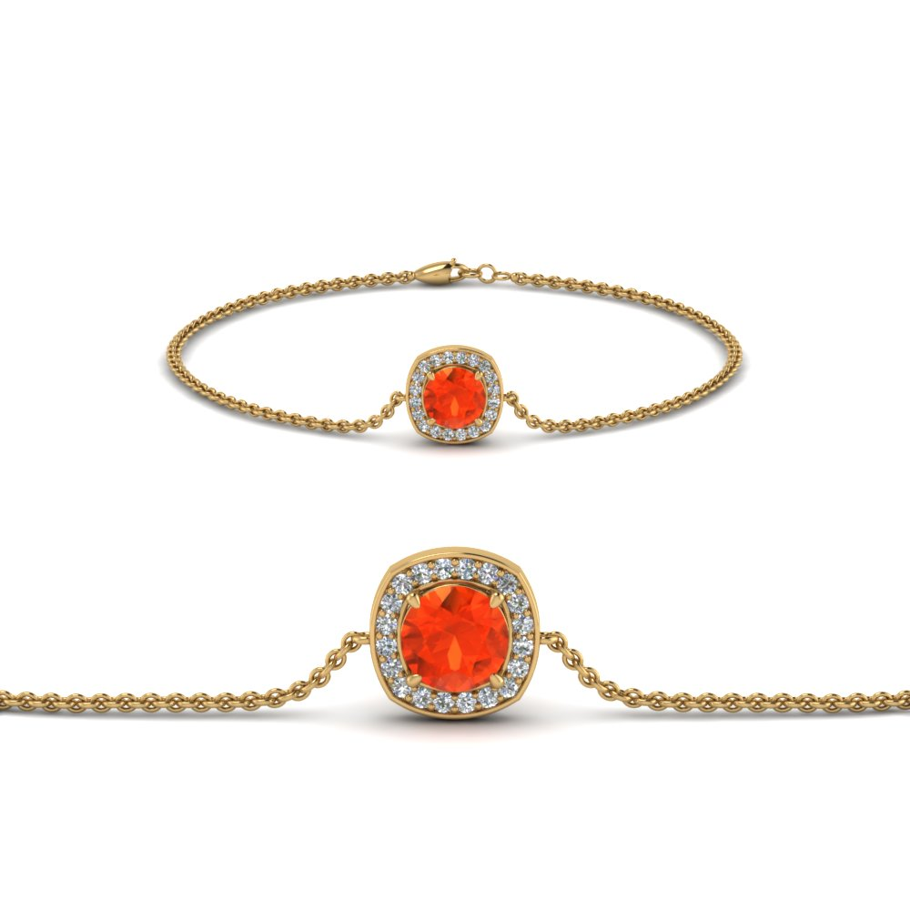 orange topaz halo chain bracelet in FDBRC8648GPT NL YG