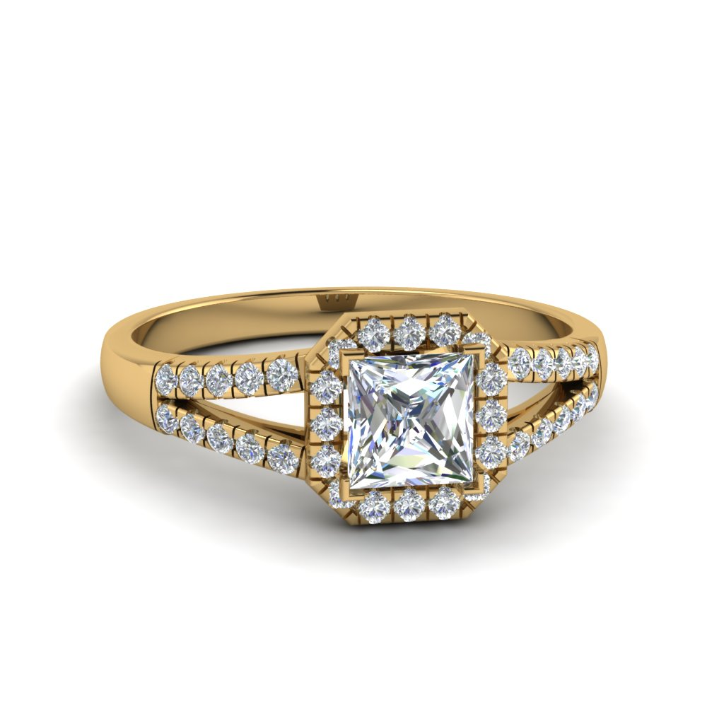halo princess cut diamond split shank engagement ring in 14K yellow gold FDENS3157PRR NL YG