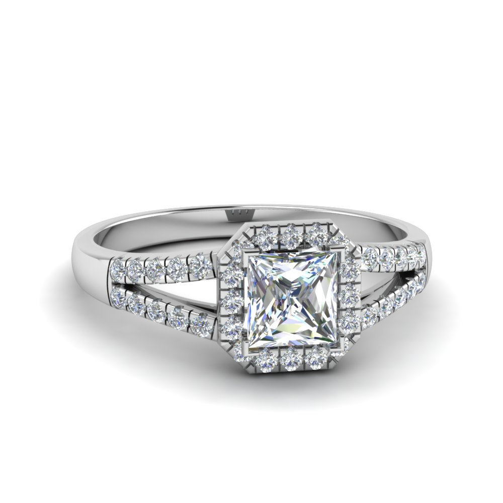 halo princess cut diamond split shank engagement ring in