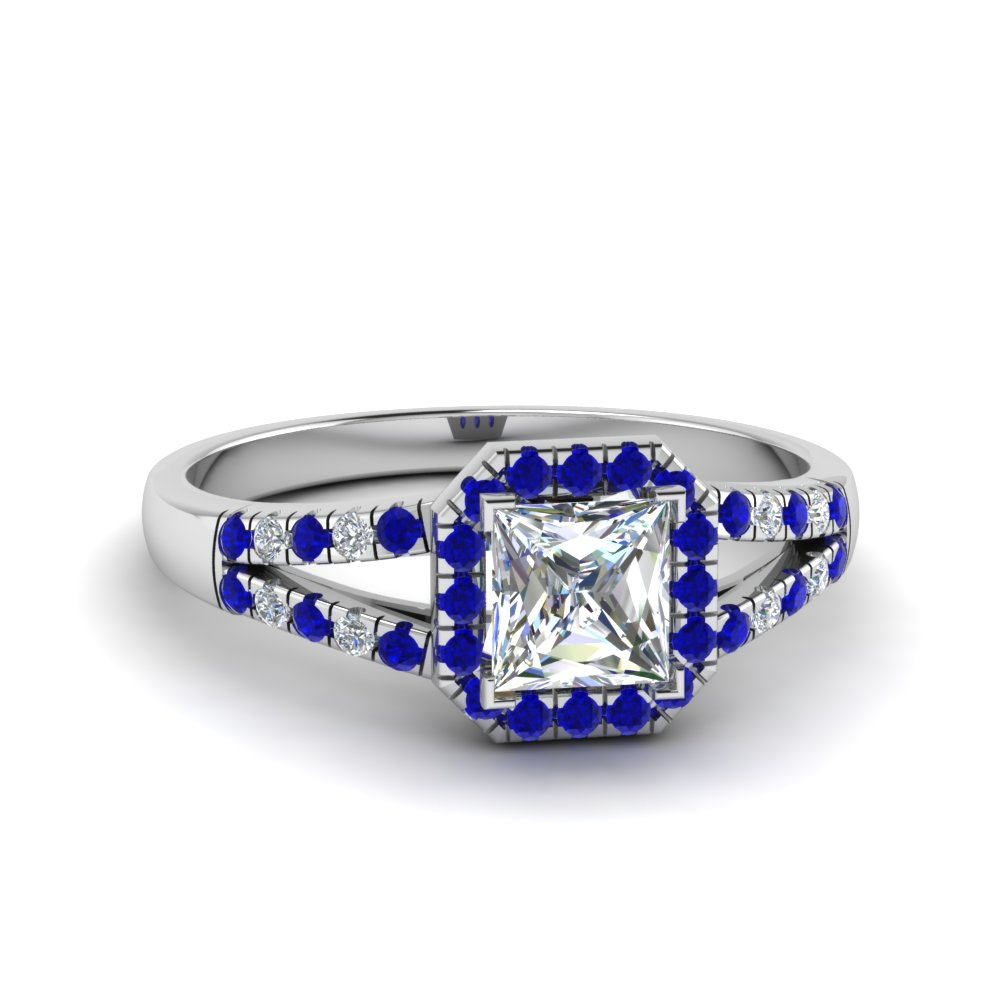 halo princess cut diamond split shank engagement ring with blue sapphire in 14K white gold FDENS3157PRRGSABL NL WG