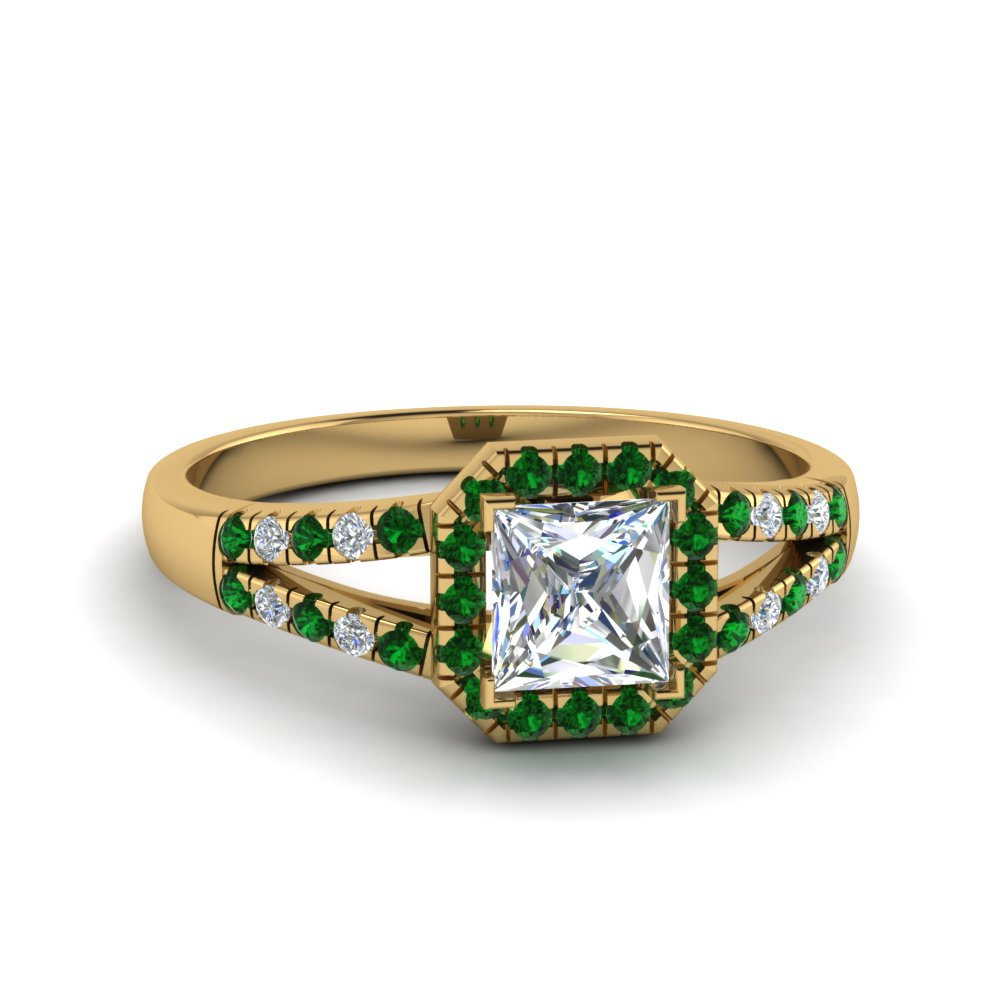 halo princess cut diamond split shank engagement ring with emerald in FDENS3157PRRGEMGR NL YG