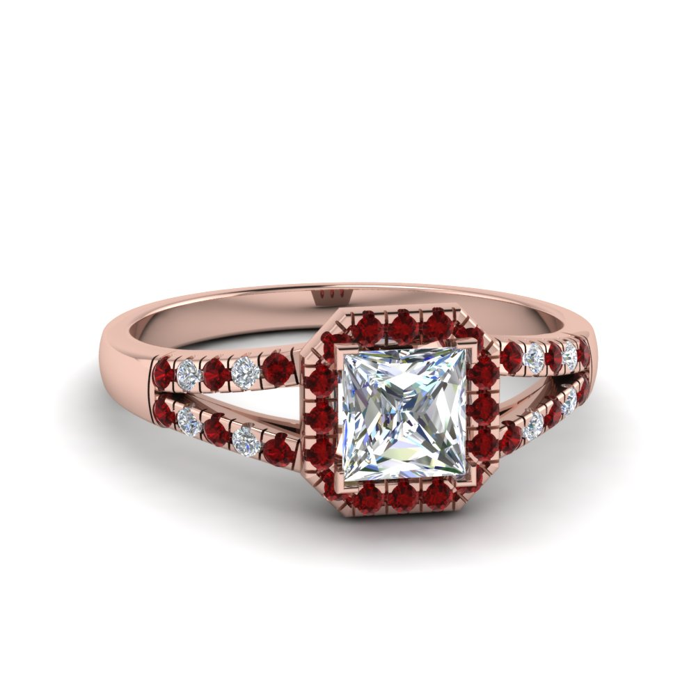 halo princess cut diamond split shank engagement ring with ruby in FDENS3157PRRGRUDR NL RG
