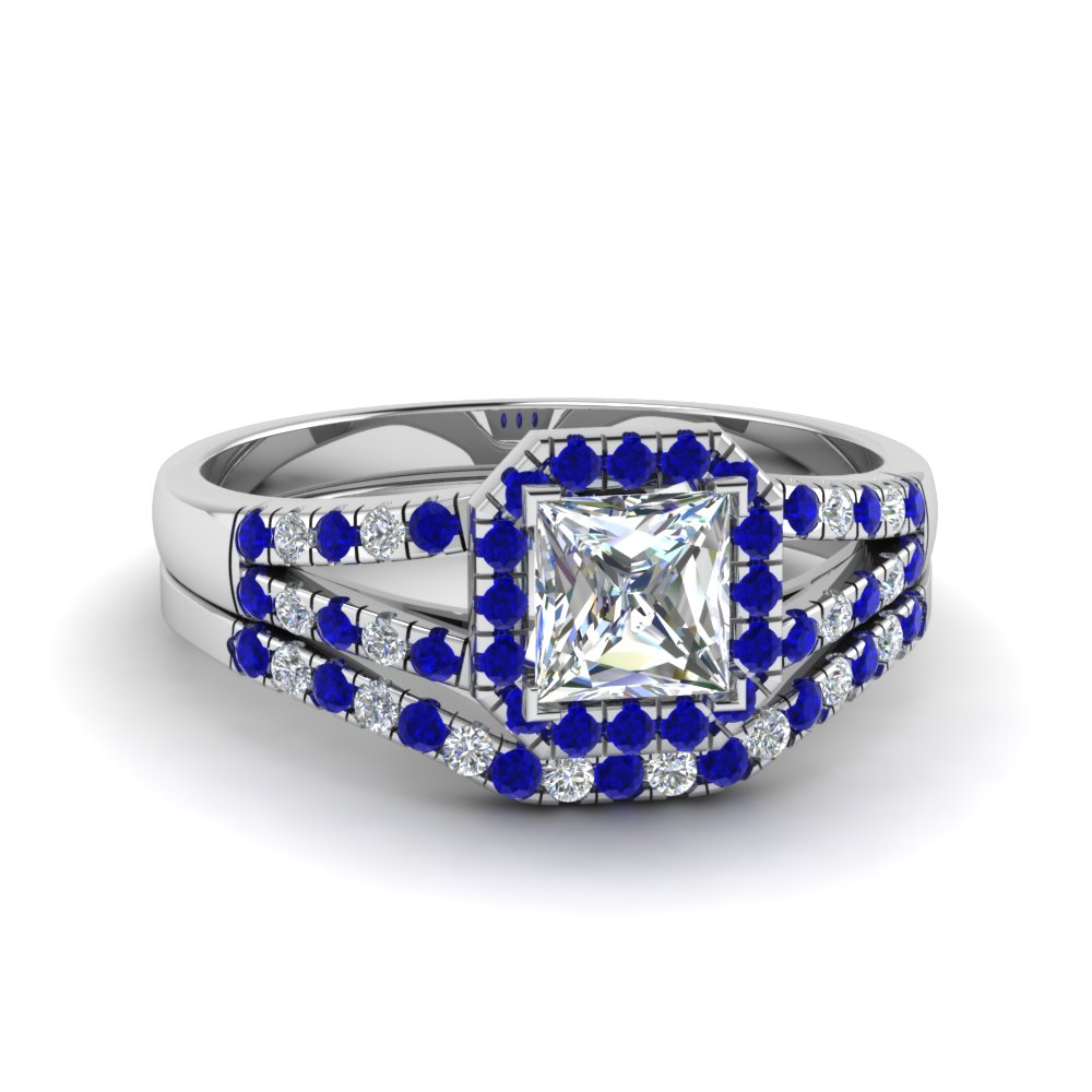 halo princess cut diamond split shank wedding set with blue sapphire in FDENS3157PRGSABL NL WG