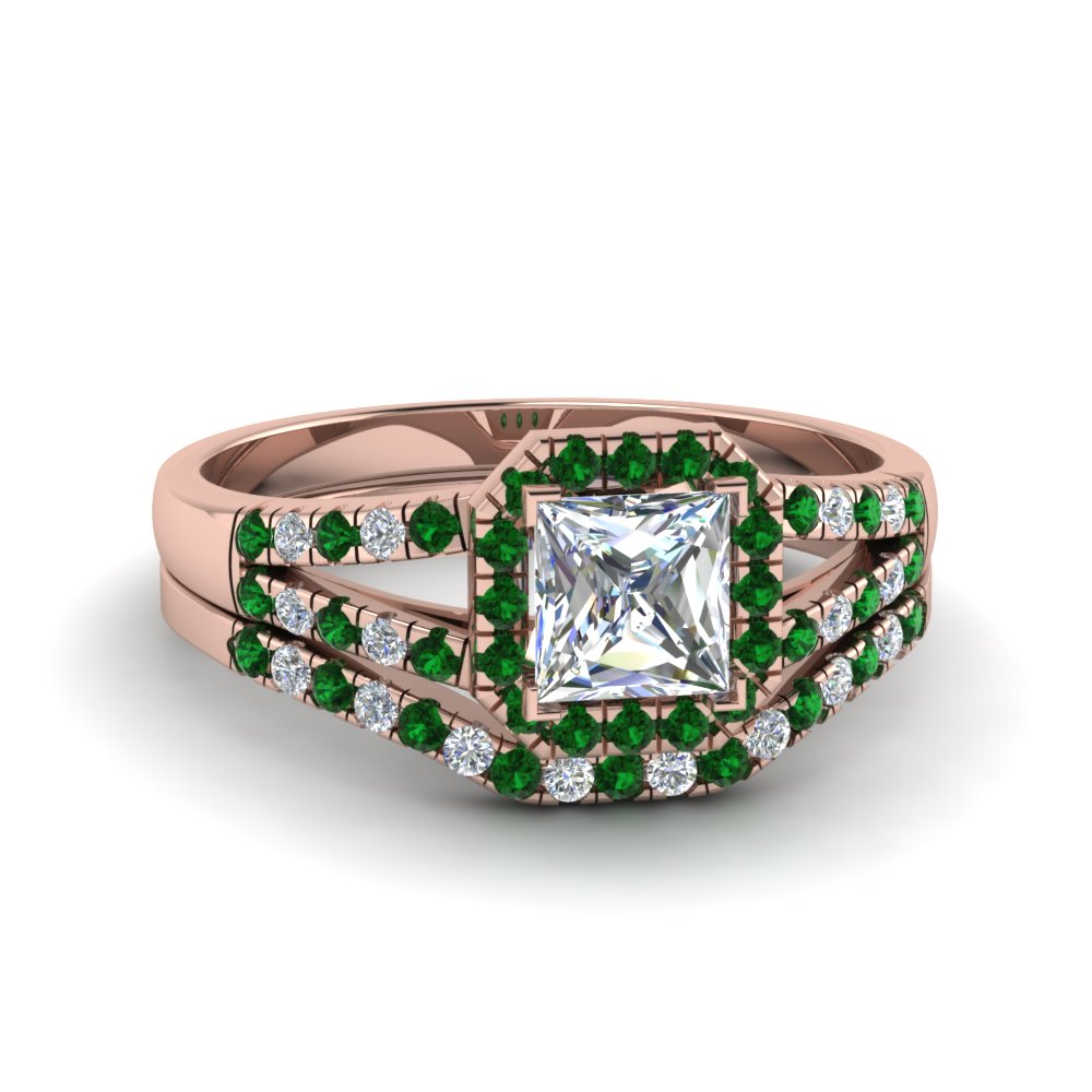 Classic Emerald Halo Ring Set