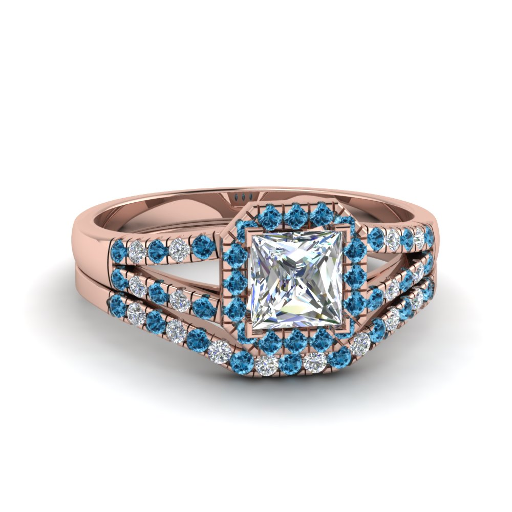 Unique Blue Topaz Wedding Ring Set