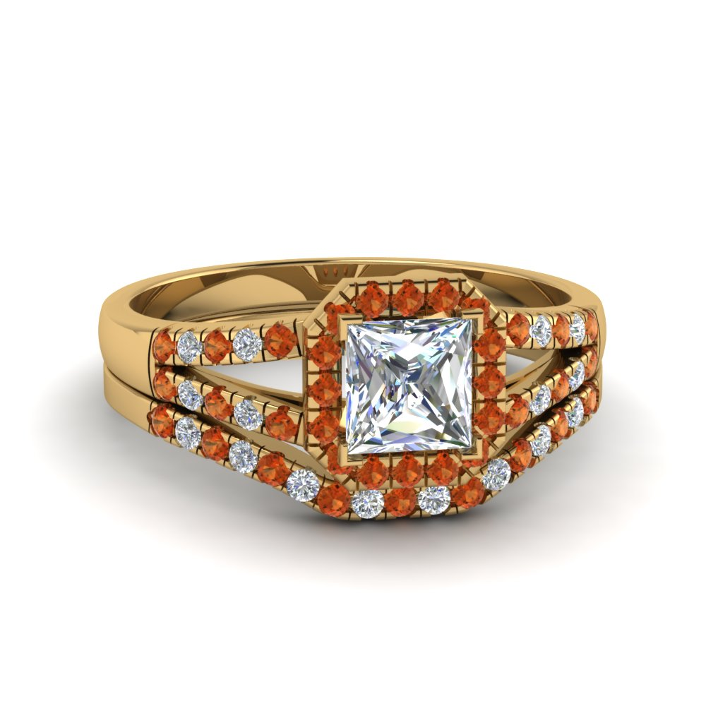 Beautiful Orange Sapphire Ring Set