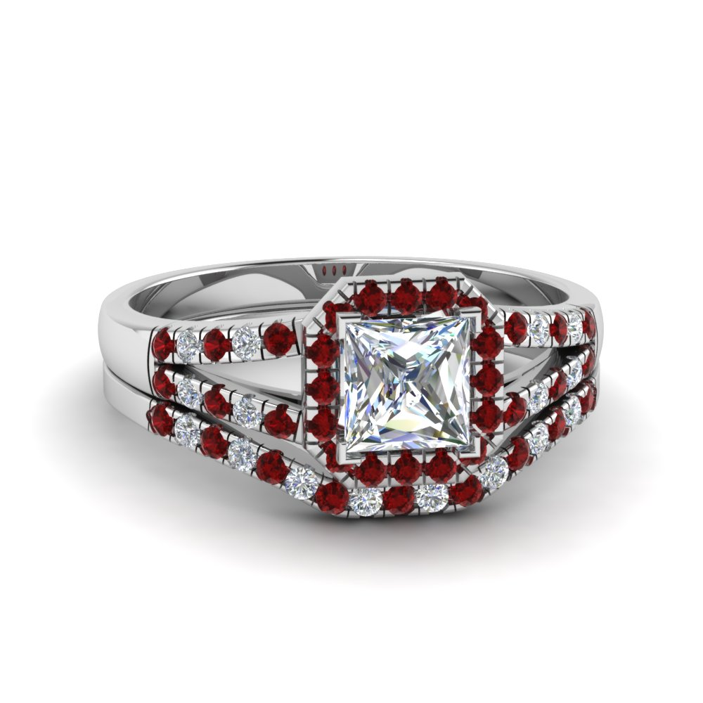 Platinum Ruby Halo Ring Set