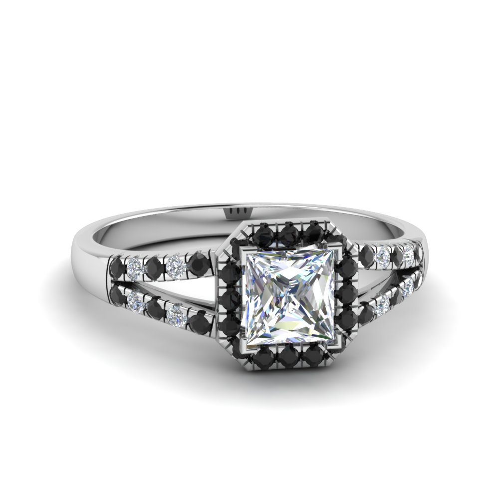 halo princess cut split shank engagement ring with black diamond in 14K white gold FDENS3157PRRGBLACK NL WG