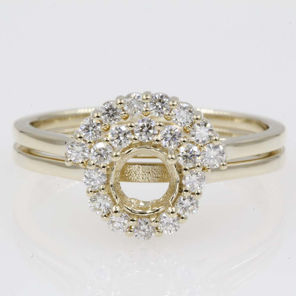 halo ring mounting with curved wedding band in 14K yellow gold FD9167SM
