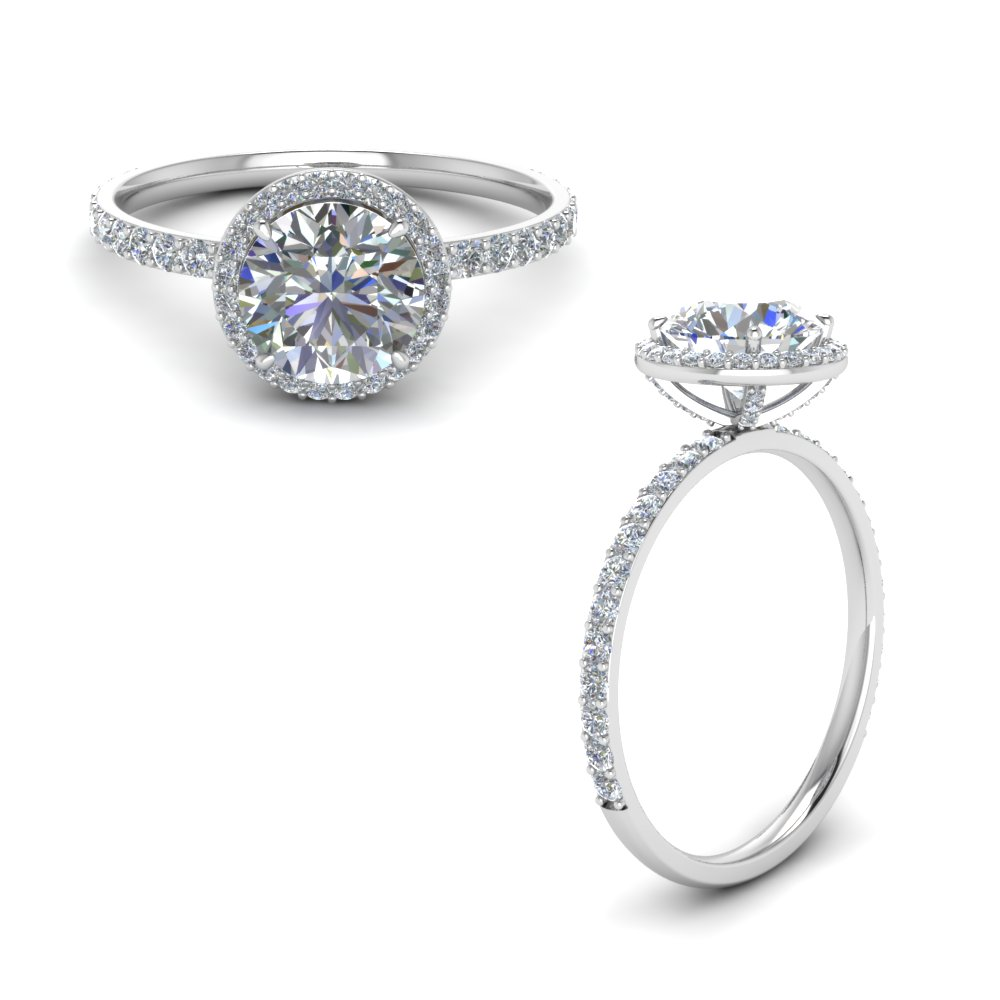 Studded Prong Round Halo Diamond Ring