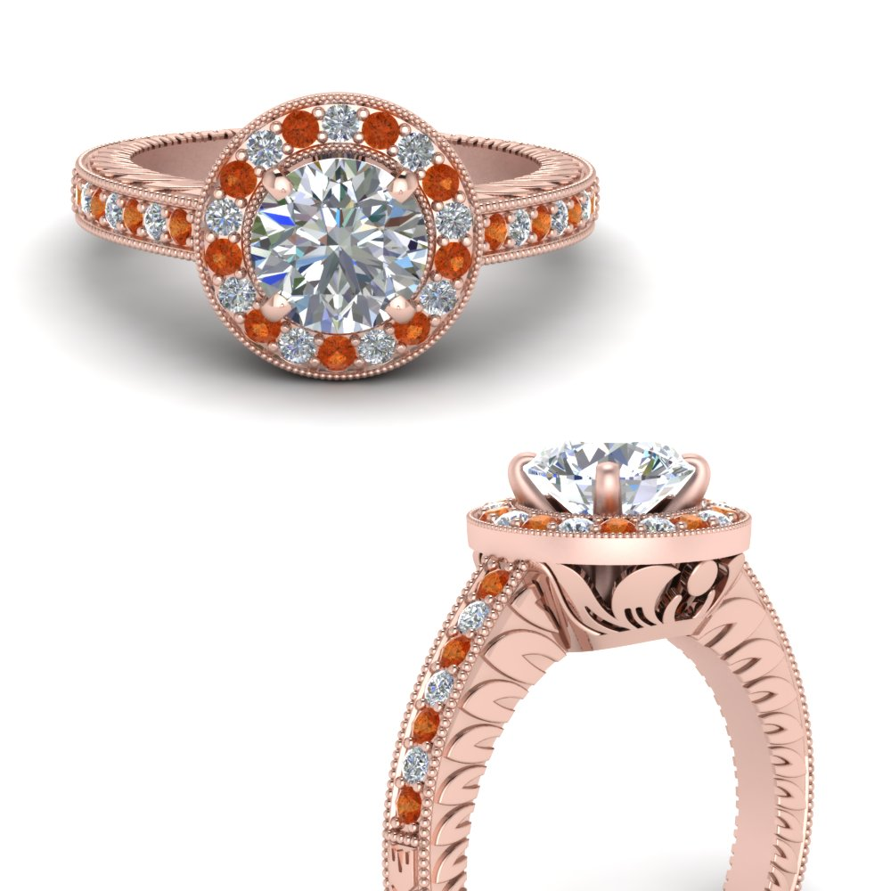 vintage halo pave diamond engagement ring with orange sapphire in FDENS3251RORGSAORANGLE3 NL RG