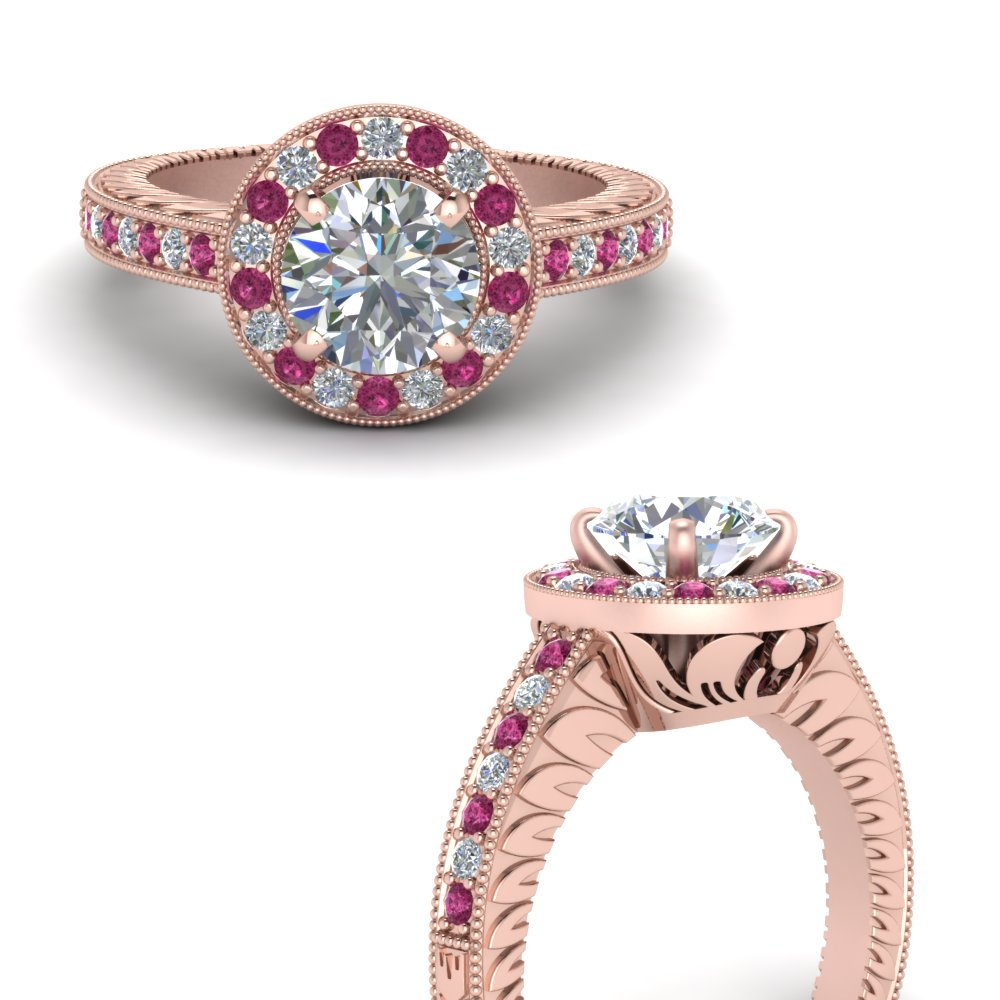 halo vintage diamond engagement ring with pink sapphire in FDENS3251RORGSADRPIANGLE3 NL RG