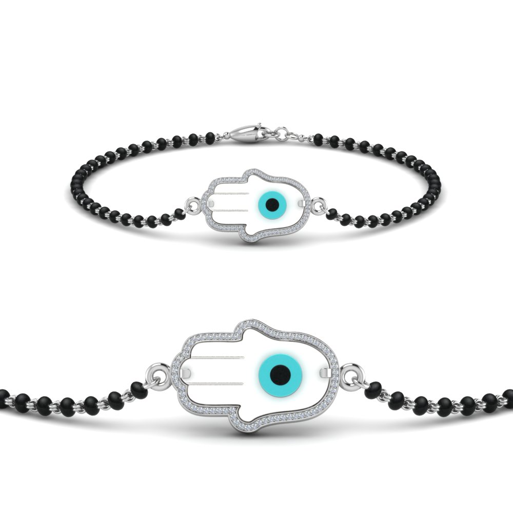 Hamsa Evil Eye Mangalsutra White Gold