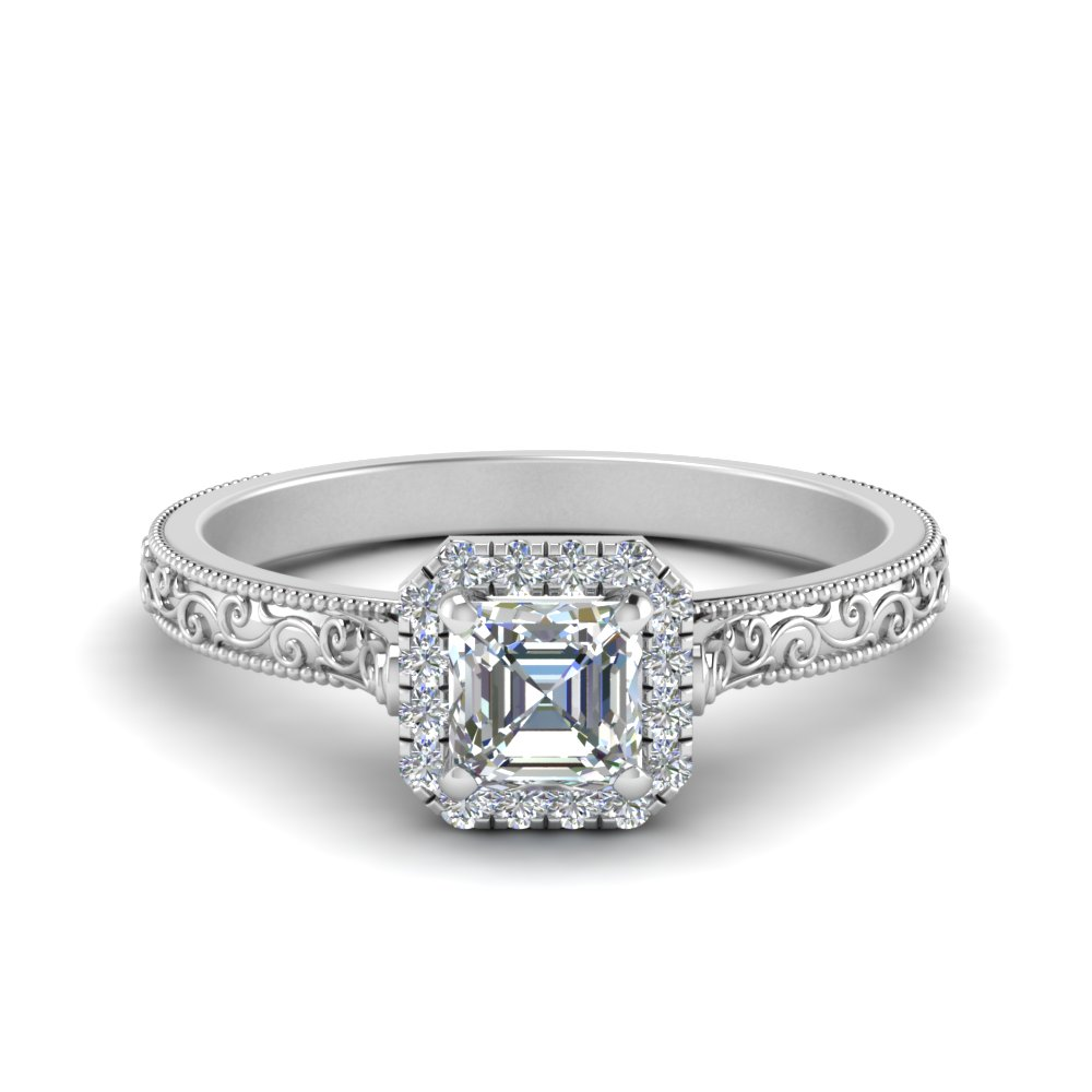 hand engraved asscher cut halo diamond engagement ring in FD8588ASR NL WG
