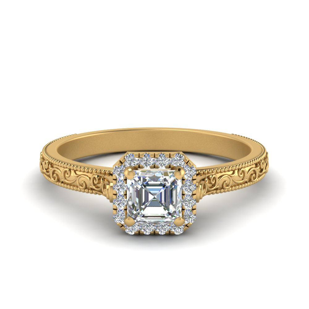 hand engraved asscher cut halo diamond engagement ring in FD8588ASR NL YG