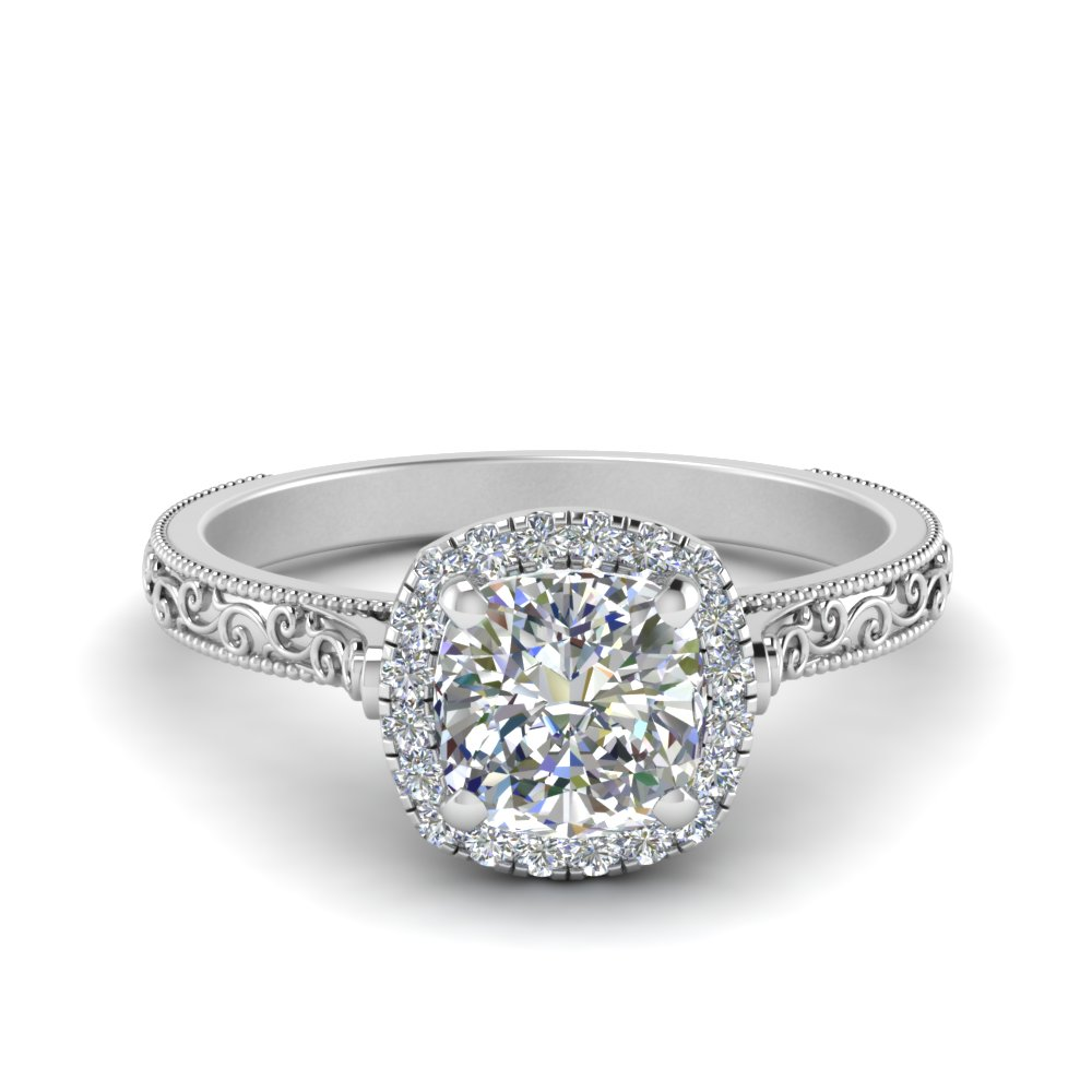 hand engraved cushion cut halo diamond engagament ring in FD8588CUR NL WG