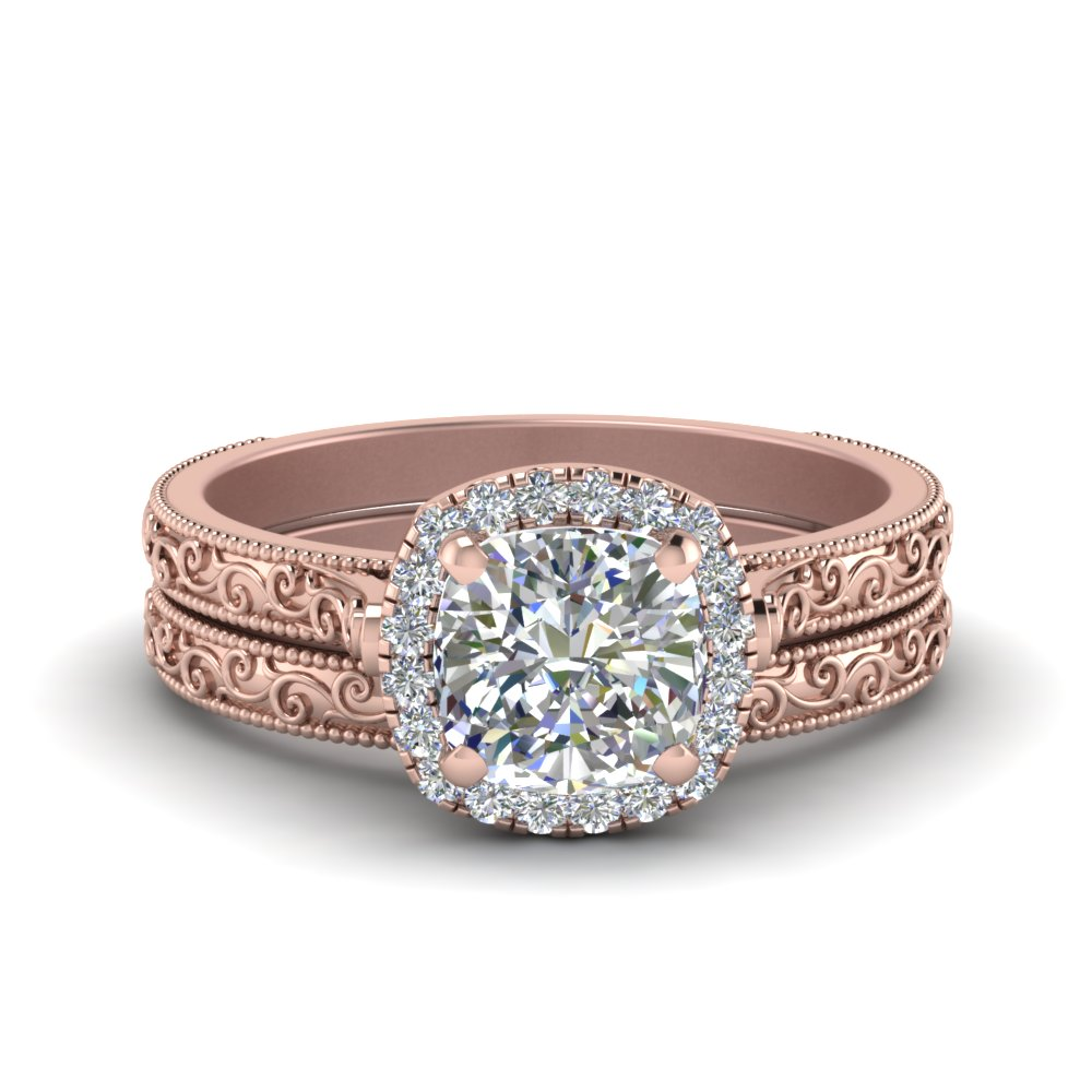 Rose Gold Cushion Cut Wedding Sets