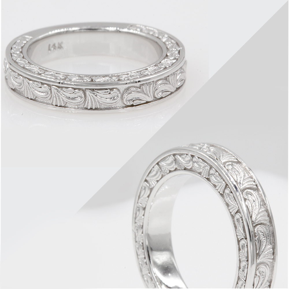 hand engraved custom band in 14K white gold FD120191BANGLE3