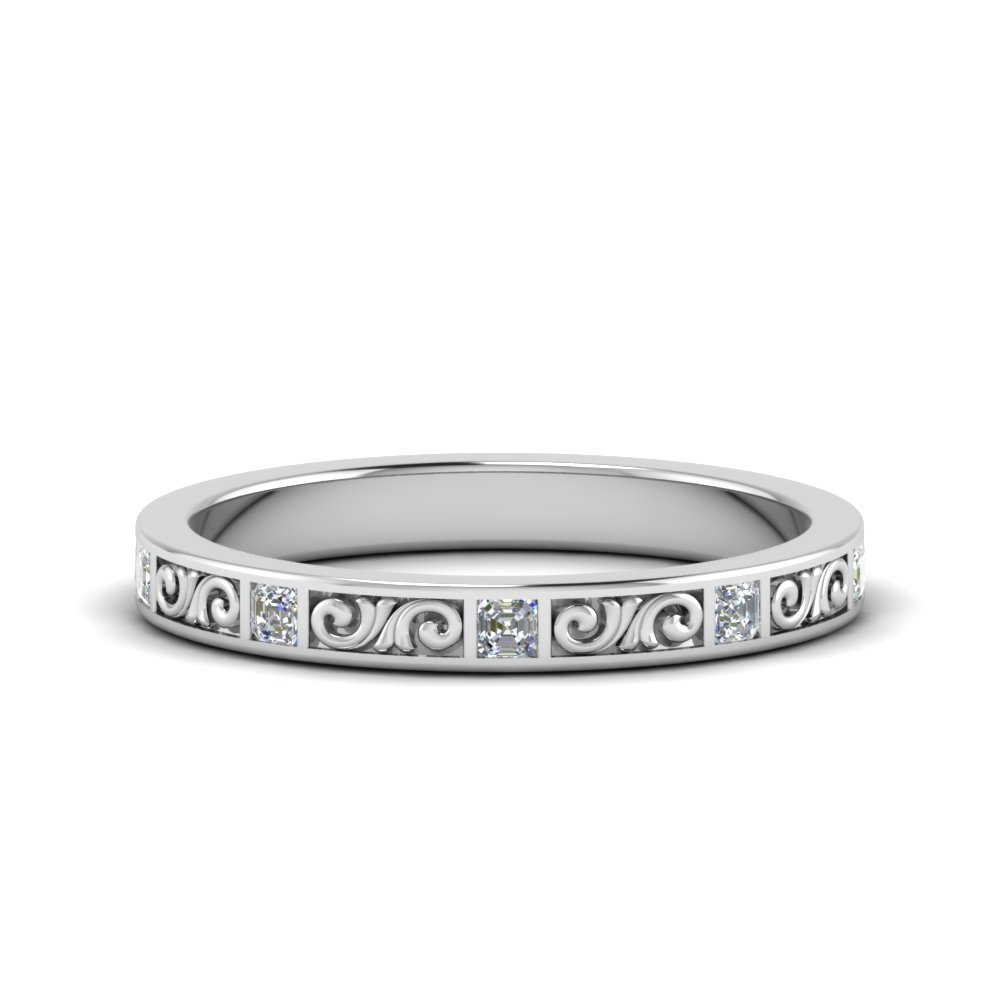 hand engraved diamond anniversary band gifts in FDEWB122534BAS NL WG