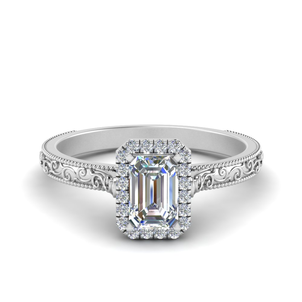 hand engraved emerald cut halo diamond engagement ring in FD8588EMR NL WG