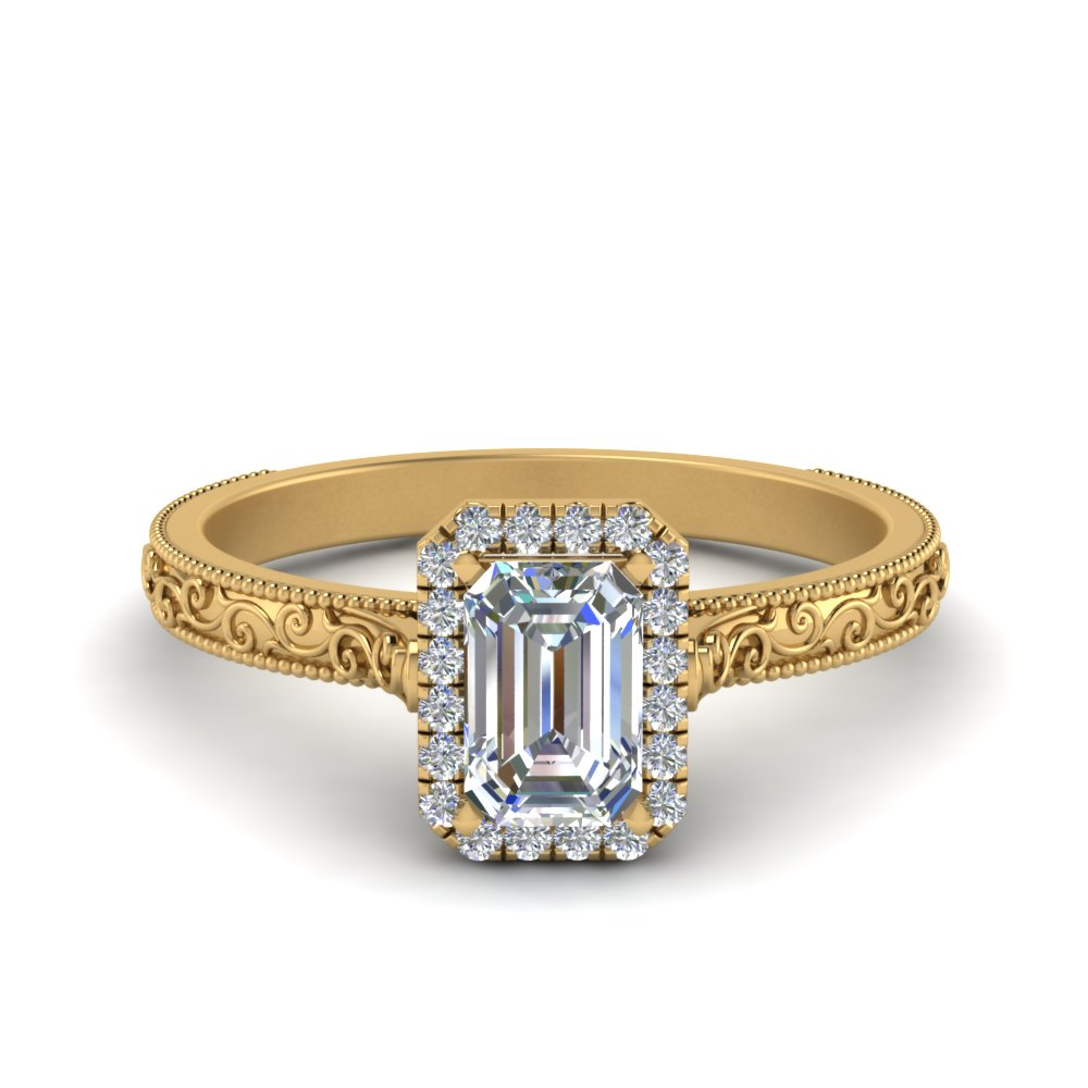 hand engraved emerald cut halo diamond engagement ring in FD8588EMR NL YG