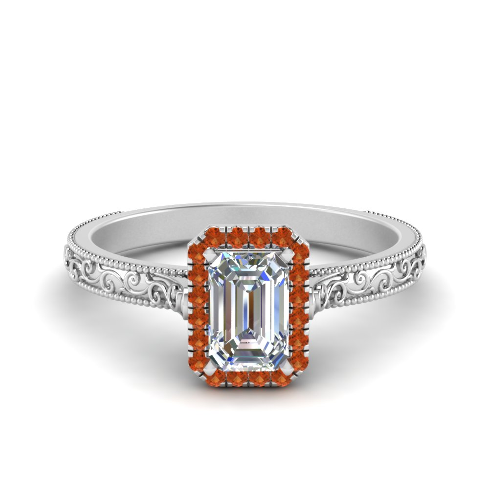 hand engraved emerald cut halo diamond engagement ring with orange sapphire in FD8588EMRGSAOR NL WG