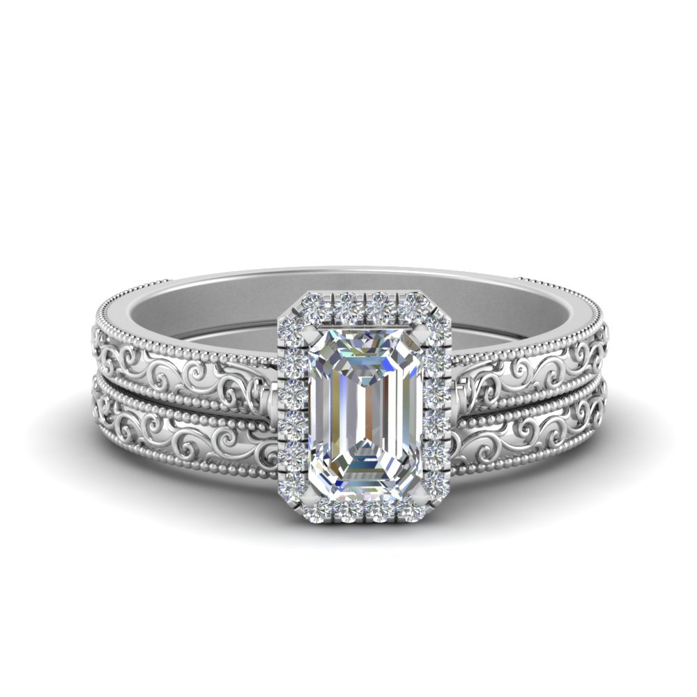 hand engraved emerald cut halo diamond wedding ring set in fd8588em nl wg - Engagement Wedding Ring Set