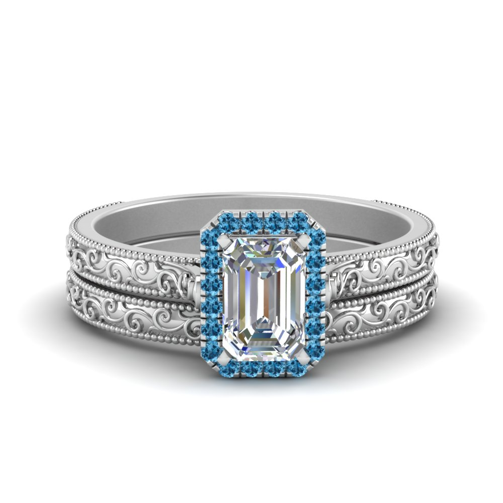 Hand Engraved Emerald Cut Halo Diamond Wedding Ring Set With Blue Topaz In  FD8588EMGICBLTO NL WG