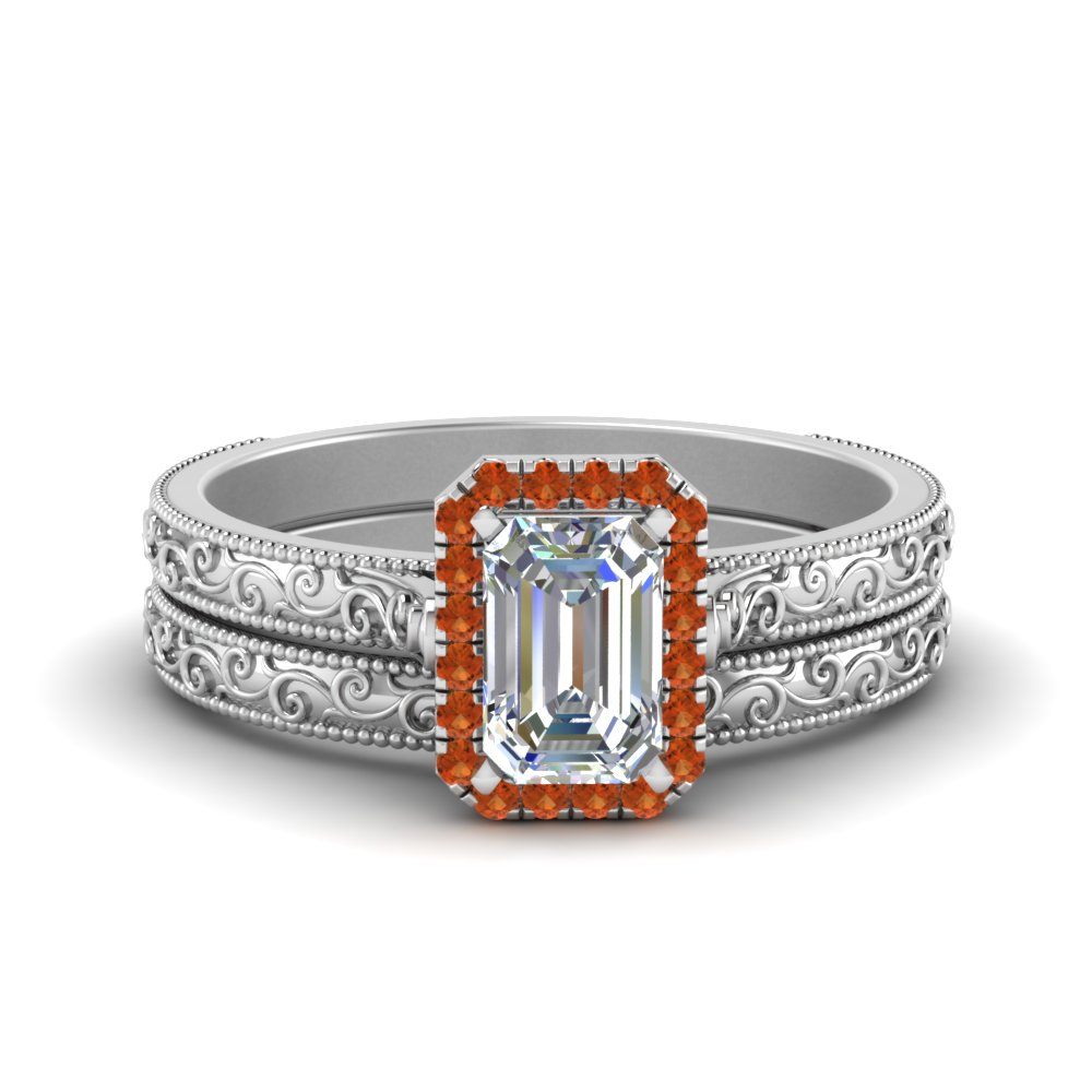 Emerald Cut Orange Sapphire Wedding Sets