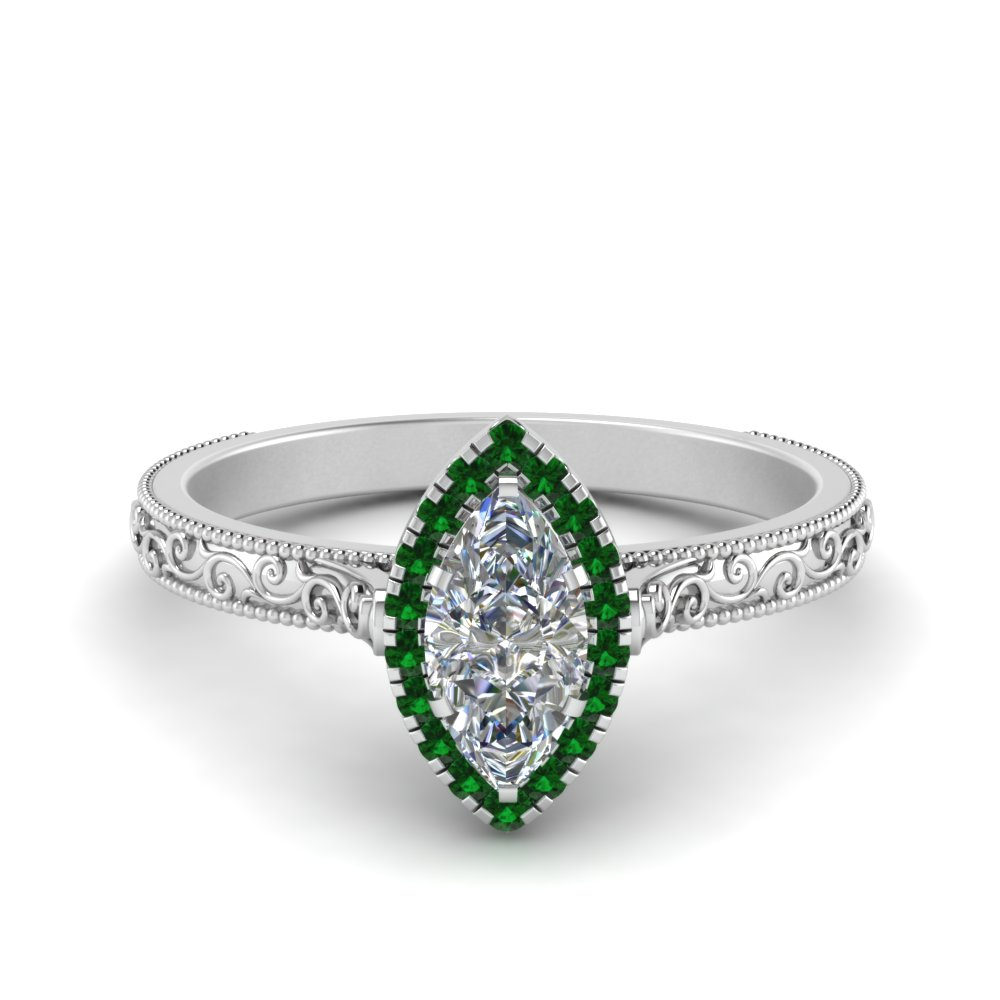 hand engraved marquise cut halo diamond engagement ring with emerald in FD8588MQRGEMGR NL WG