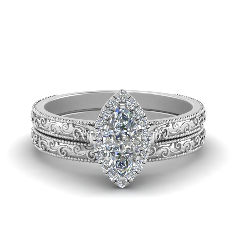 hand engraved marquise cut halo diamond wedding ring set in FD8588MQ NL WG