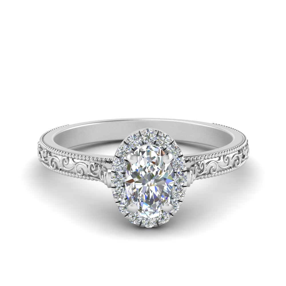hand engraved oval shaped halo diamond engagement ring in FD8588OVR NL WG