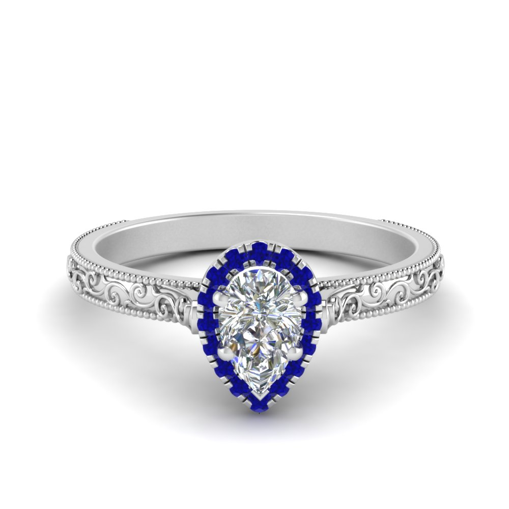 in shaped pear shape white rockher ring halo sapphire pave with accented cut diamond engagement gold bsa