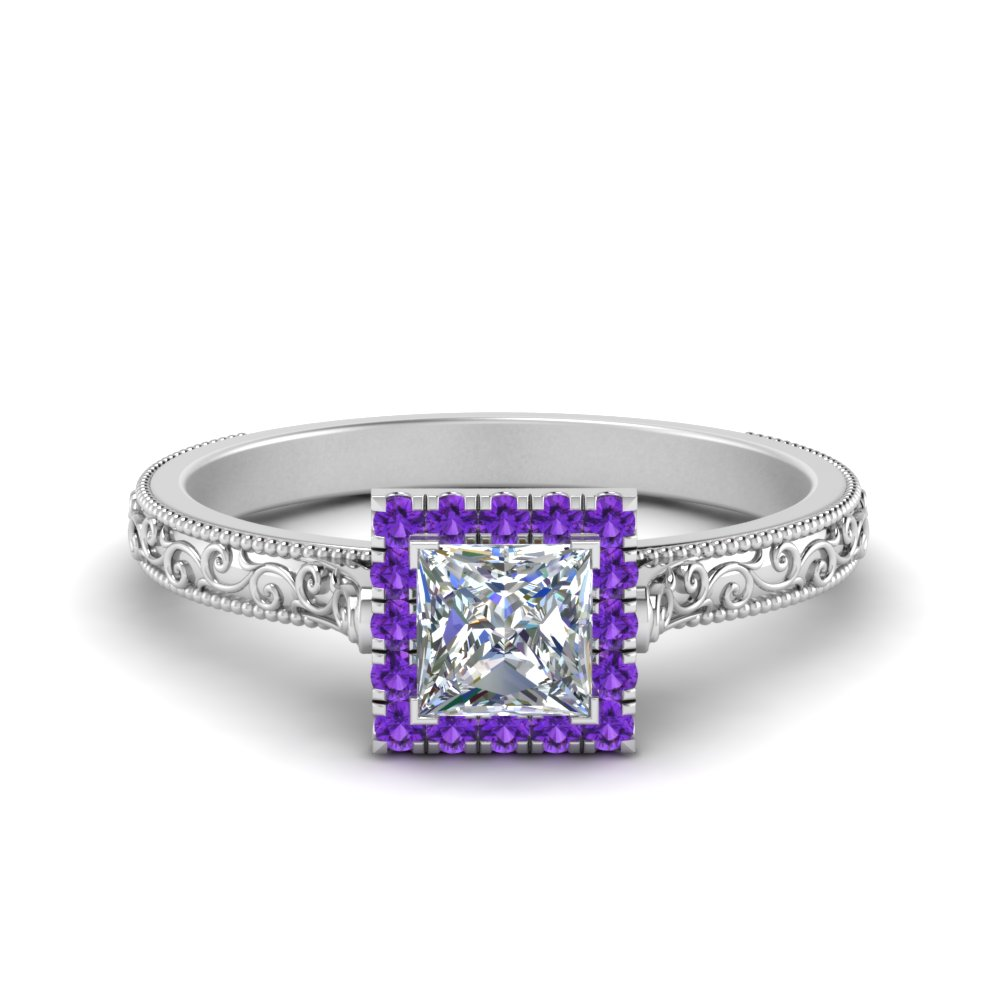 hand engraved princess cut halo diamond engagement ring with purple topaz in FD8588PRRGVITO NL WG