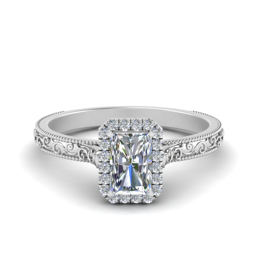 hand engraved radiant cut halo diamond engagement ring in FD8588RAR NL WG